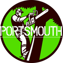 tree surgeon portsmouth logo, man with a chainsaw cutting a branch